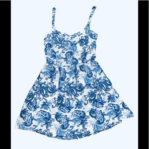 Garage Mini blue paisley back cutout dress